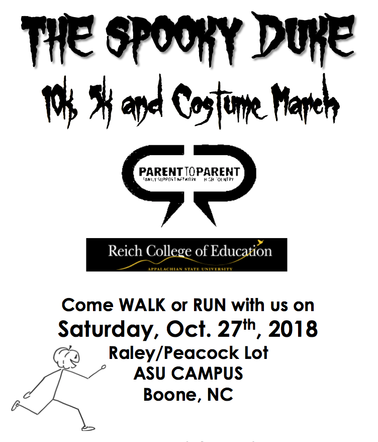 The Spooky Duke 10k 5k and costume march come walk or run with us on saturday, oct. 27th, 2018 Raley/peacock lot ASU campus Boone, NC