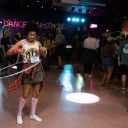 A participant in the 2018 Dance Marathon at Appalachian incorporates hula-hooping into her dancing. Photo by Chase Reynolds